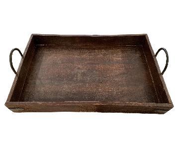 Pottery Barn Rustic Wood Tray w/ Iron Handles