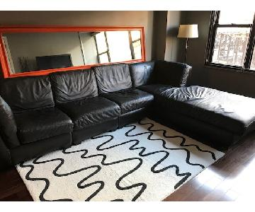 ABC Carpet and Home Leather Sectional Sofa in Dark Brown