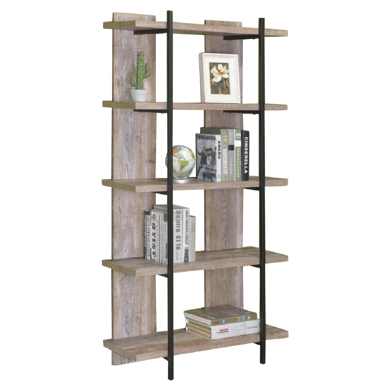 Modern Bookcase in Weathered Oak Finish w/ Black Metal Frame