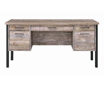 Modern Desk in Weathered Oak Finish w/ Black Metal Frame