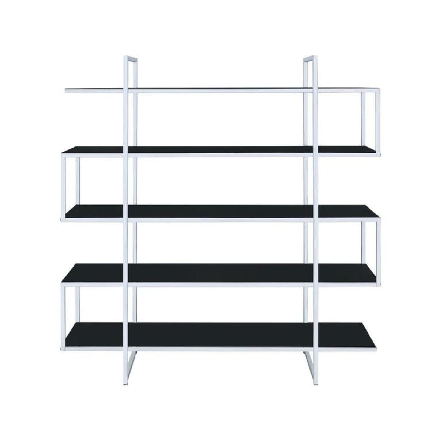 Modern Bookcase w/ Chrome Frame & Black Glass Shelves