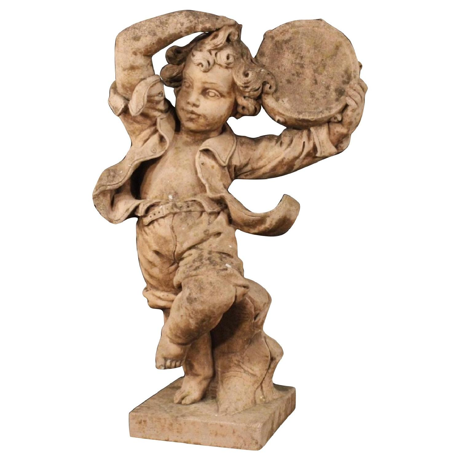French Cement Sculpture of Dancing Child w/ Tambourine