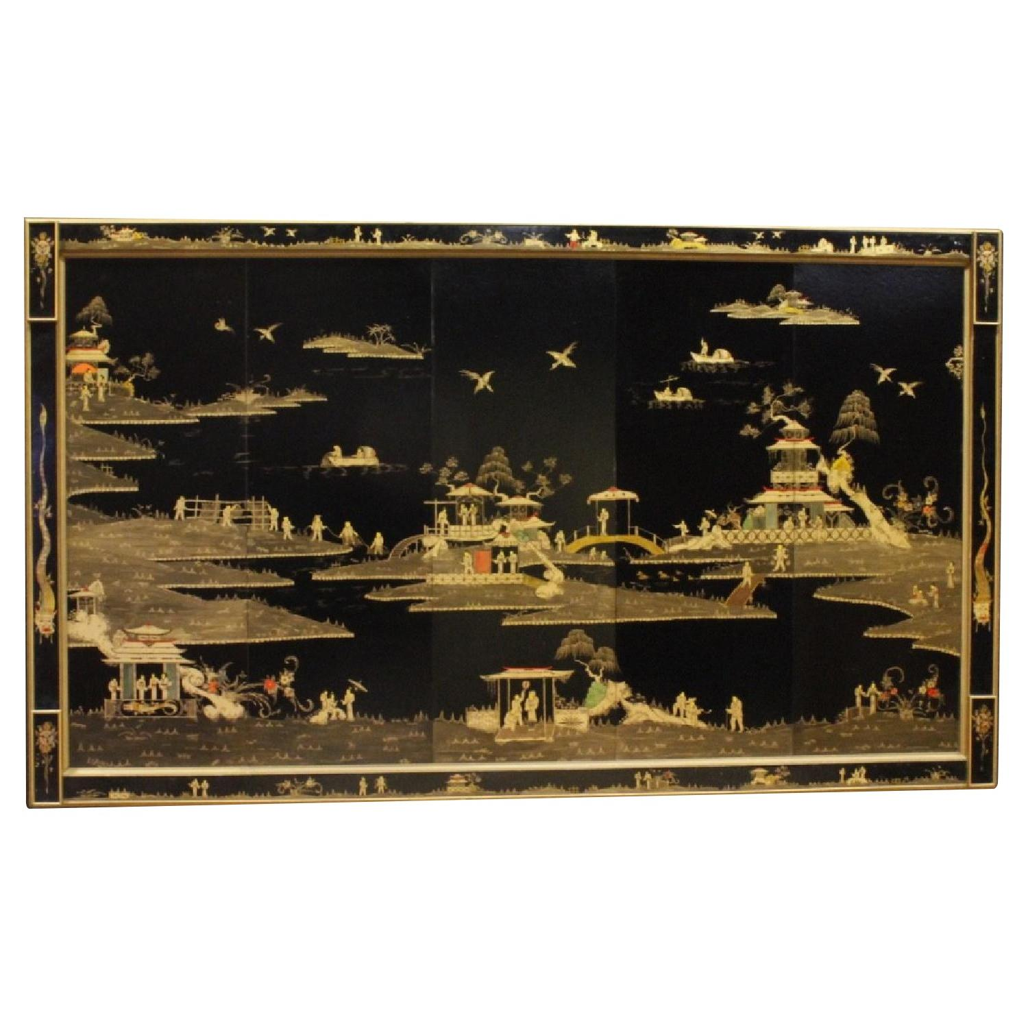French Panel in Lacquered & Gilded Chinoiserie Wood