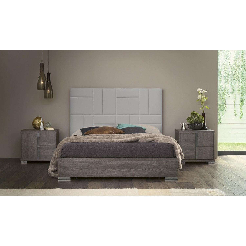 Alf Tivoli Gaia Queen Bed in Oak Veneer & Leather