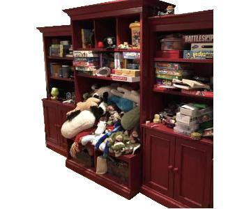 Pottery Barn Red Wooden Wall Unit