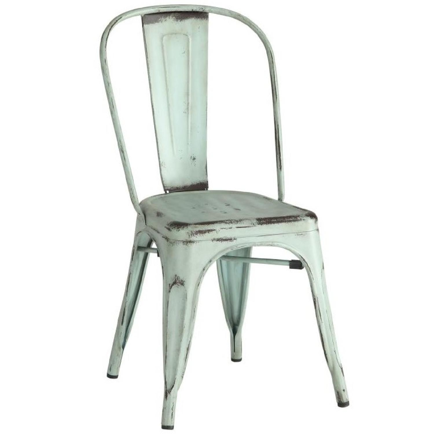 Rustic Galvanized Metal Dining Chairs In Antique Green Aptdeco