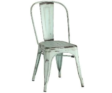 Rustic Galvanized Metal Dining Chairs in Antique Green