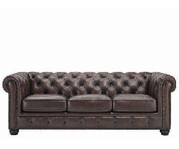 Raymour & Flanigan Tufted Leather Sofa