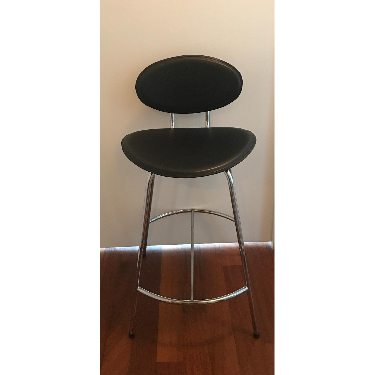 Room & Board Chrome & Black Barstools-0