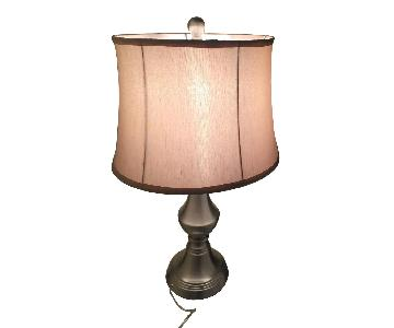 Silver Based Lamp w/ Creme Nylon Shade