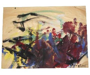 Watercolor Painting Signed Attributed to Franz Kline