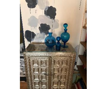 Vintage Blenko Glass Venetian Glass Blue Bottles