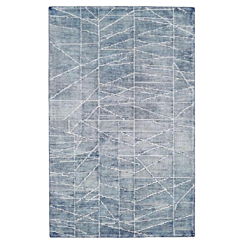 West Elm Erased Lines Wool Rug in Blue Lagoon