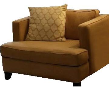 Raymour & Flanigan Oversized Arm Chair w/ Ottoman