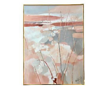 Vintage 1979 Abstract Waterscape Landscape Painting