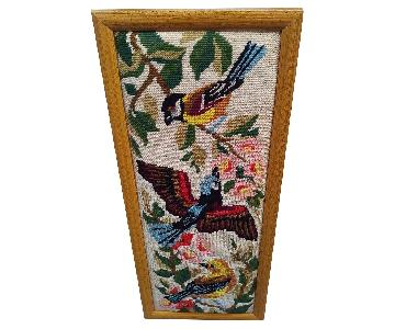 Framed Needlepoint Picture Birds Songbird Orioles Jay
