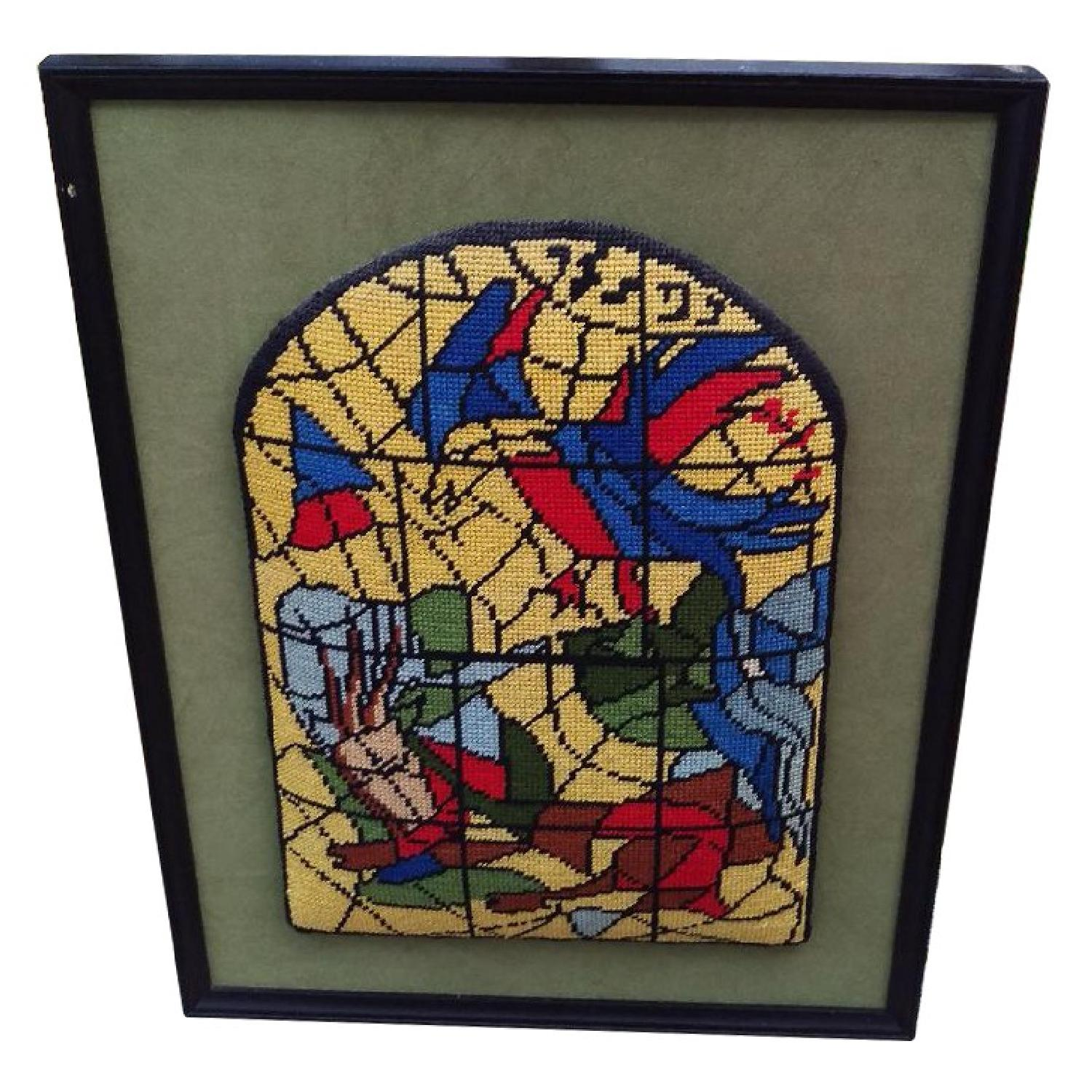 Framed Needlepoint Picture Faux Stained Glass Window