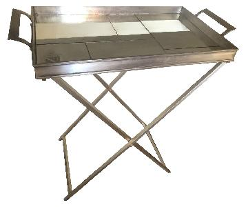 Pottery Barn Mirrored Tray & Stand