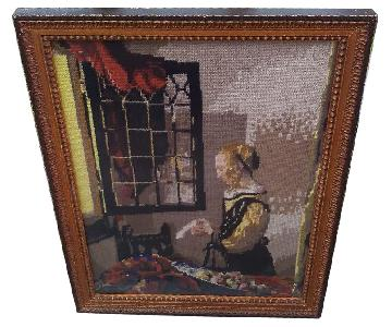 Framed Needlepoint Picture of Woman by Open Window