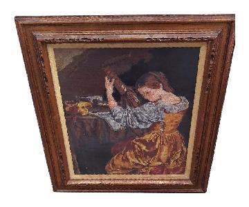 Framed Needlepoint Picture of Woman Playing Mandolin