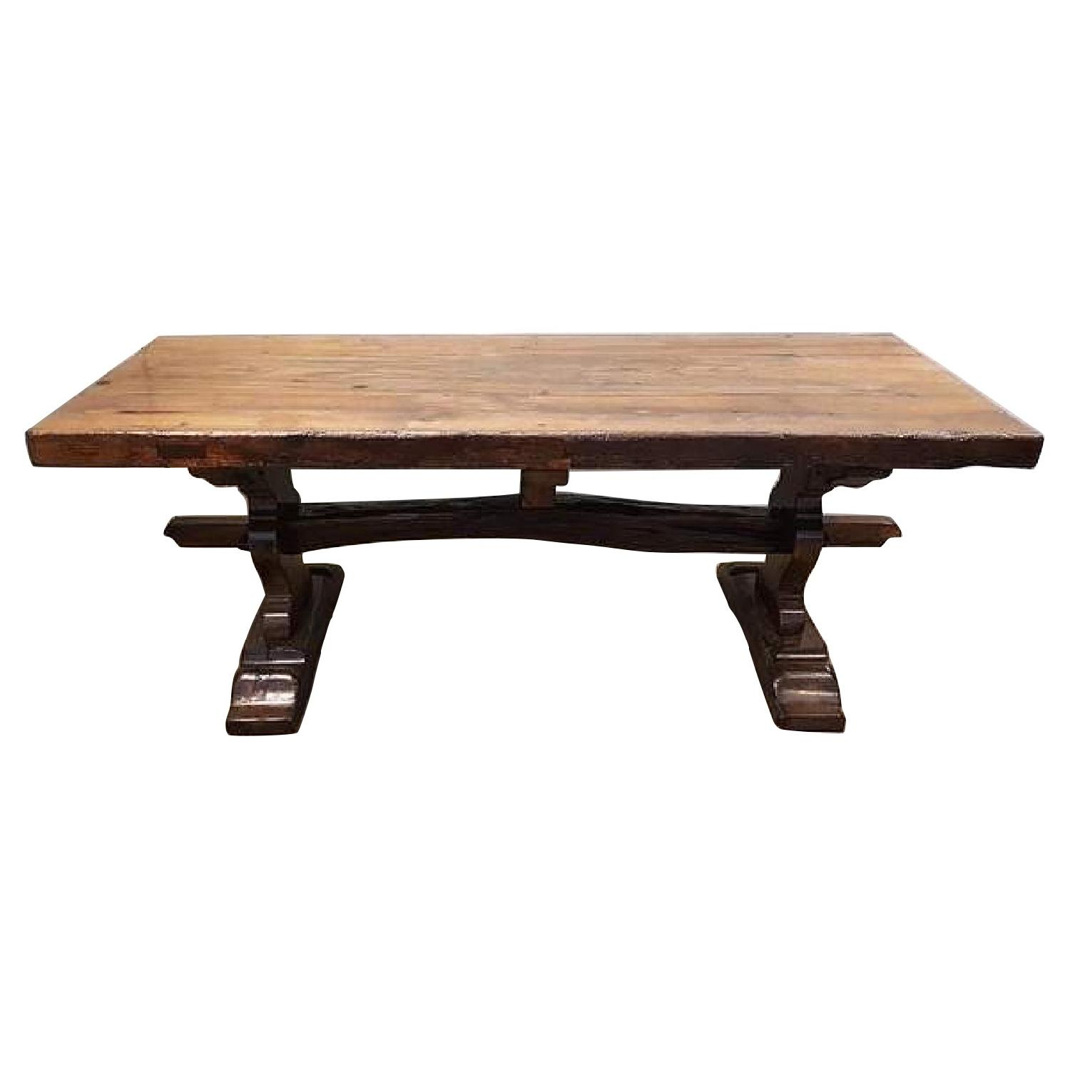 Antique 1800 French Solid Oak Trestle Dining Table