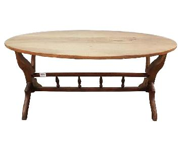 Vintage Dutch Oval Oak Mid Century Coffee Accent Table