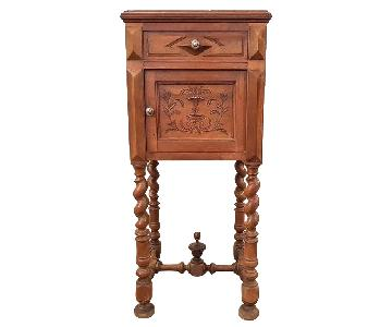 Antique French Vanity Armoire Barley Twist Stand Desk