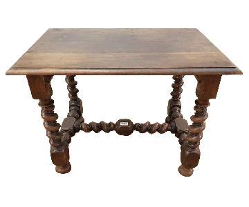 Antique French Oak Barley Twist H-Stretcher Table/Desk