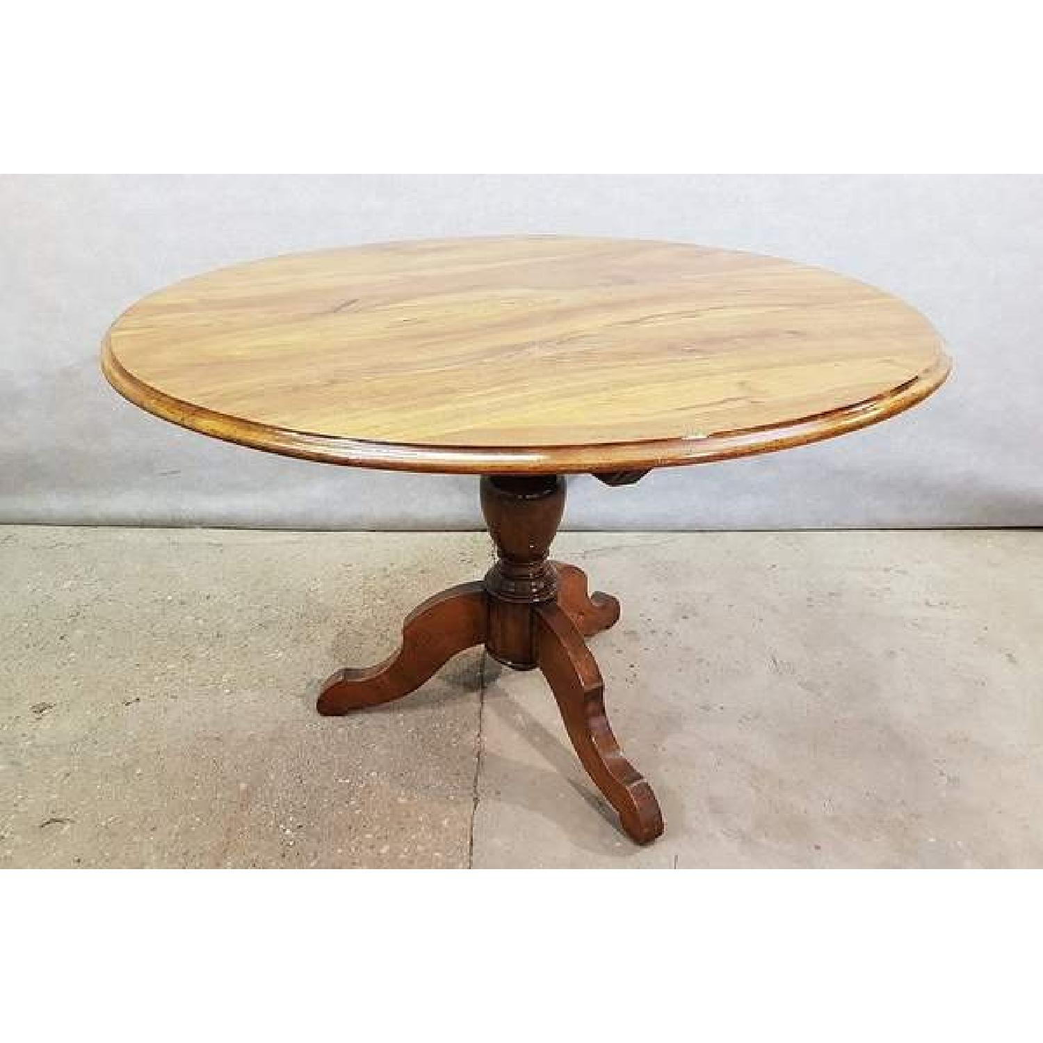 Antique French Walnut Round Tilt Top Occasional Side Table-0