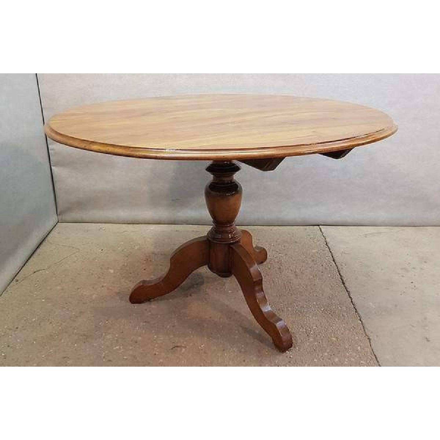 Antique French Walnut Round Tilt Top Occasional Side Table-1