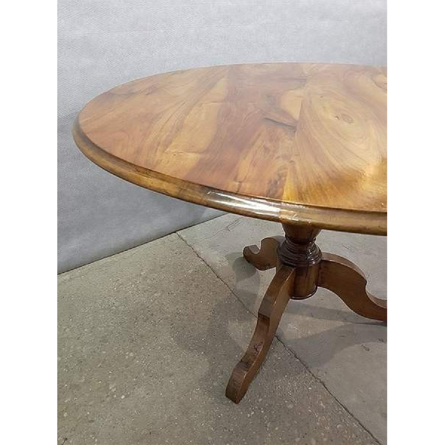 Antique French Walnut Round Tilt Top Occasional Side Table-4