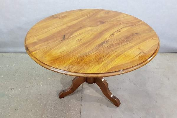 Antique French Walnut Round Tilt Top Occasional Side Table