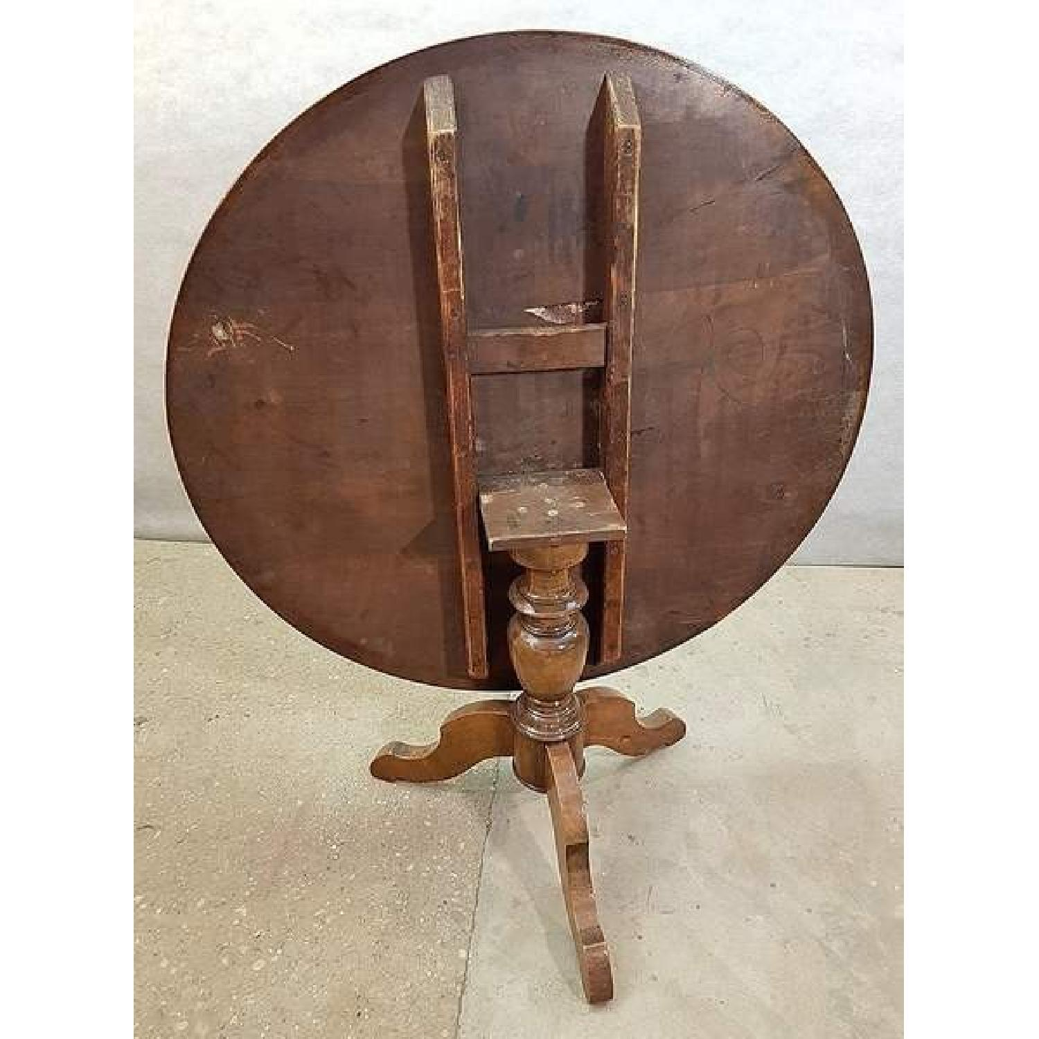 Antique French Walnut Round Tilt Top Occasional Side Table-11