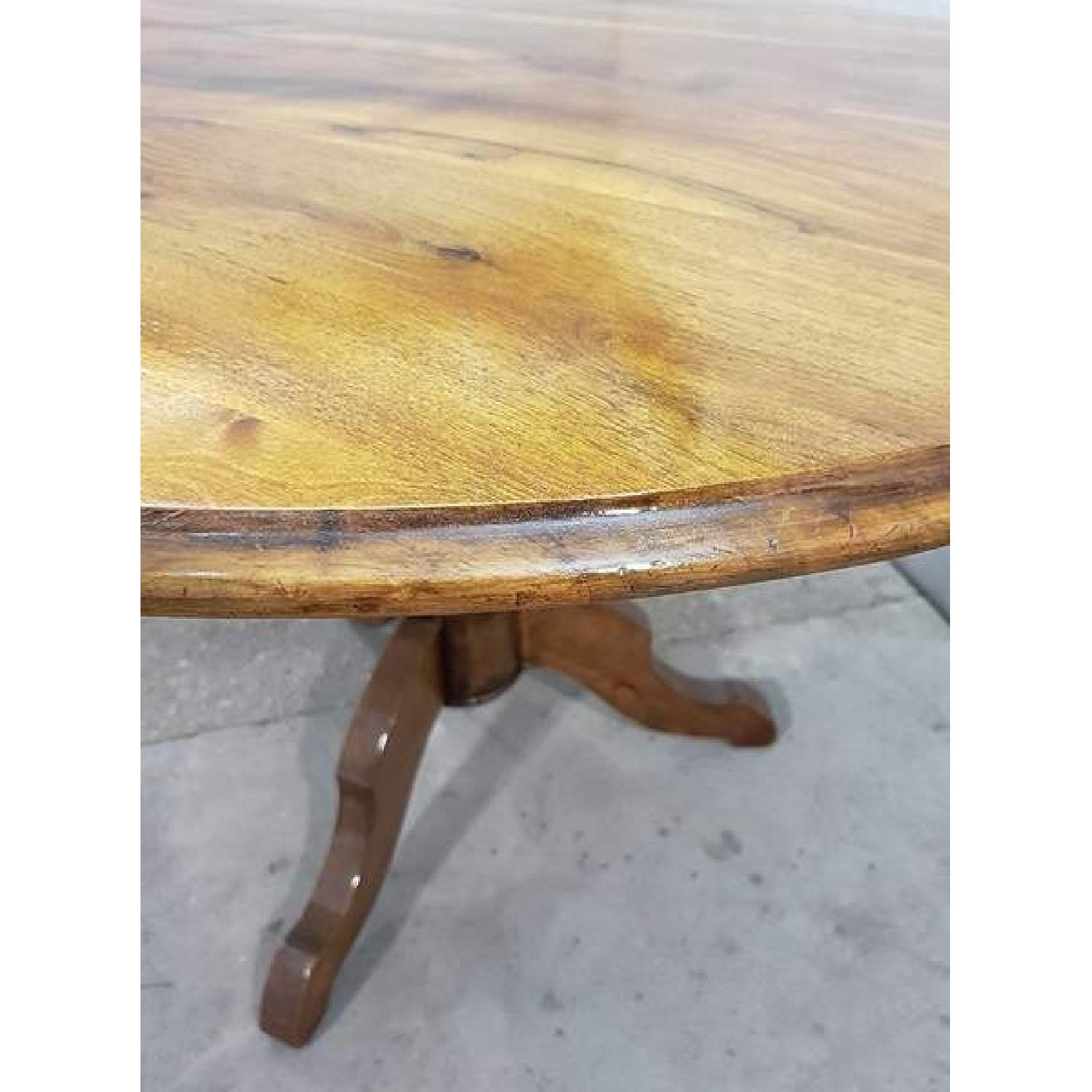 Antique French Walnut Round Tilt Top Occasional Side Table-12
