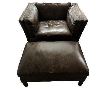 Restoration Hardware Sorensen Leather Chair & Ottoman