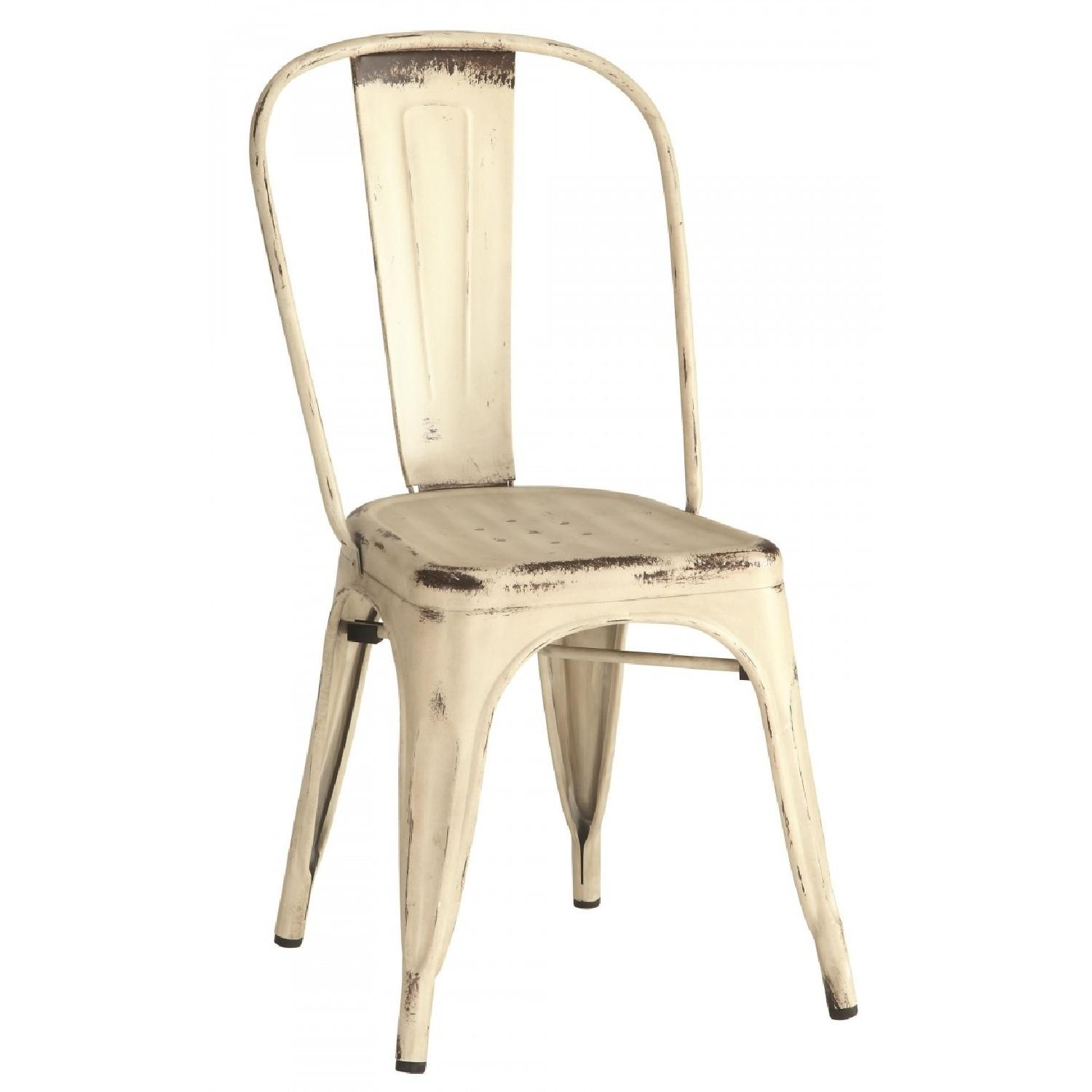 Rustic Galvanized Metal Dining Chairs in Antique White