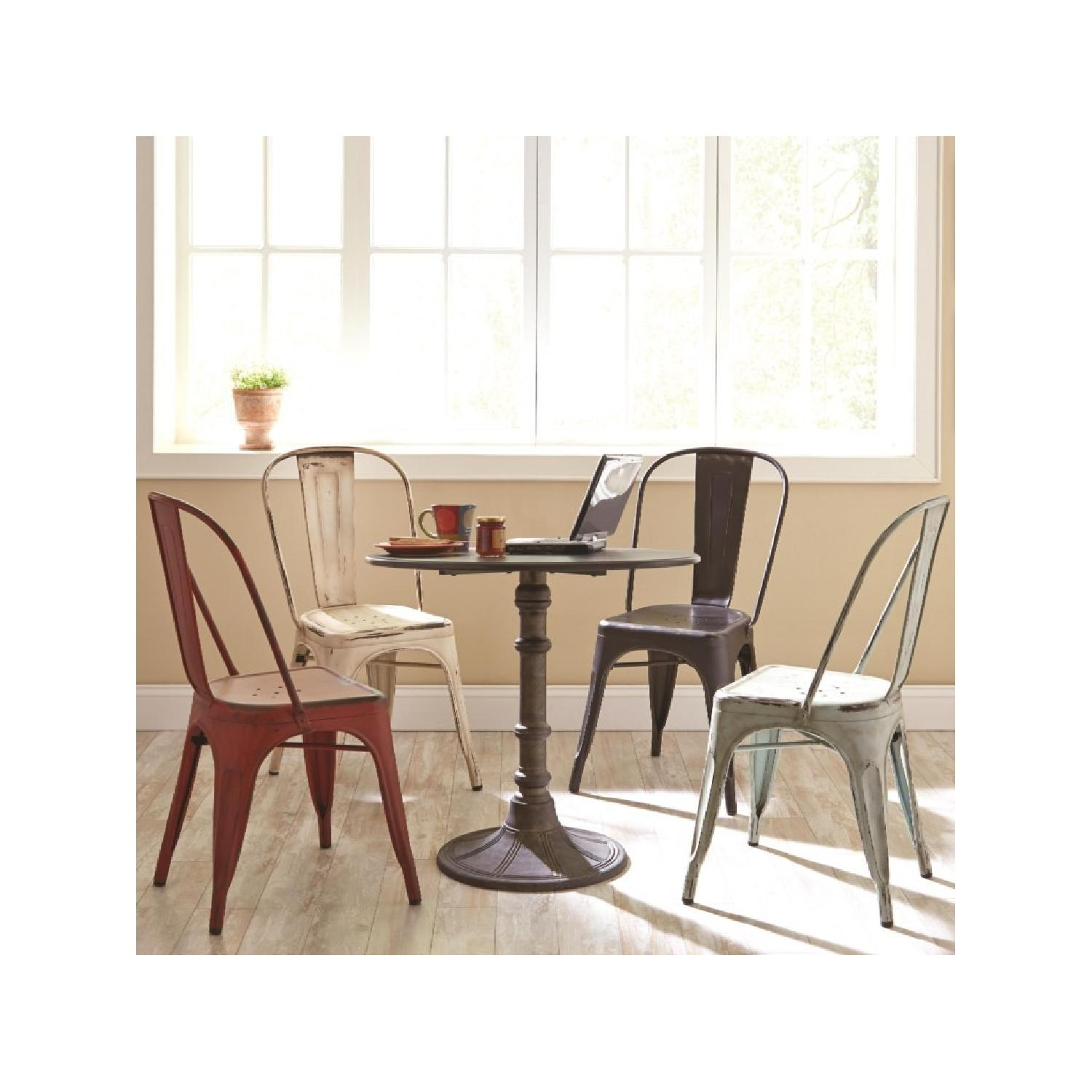 ... Rustic Galvanized Metal Dining Chairs In Antique White 1