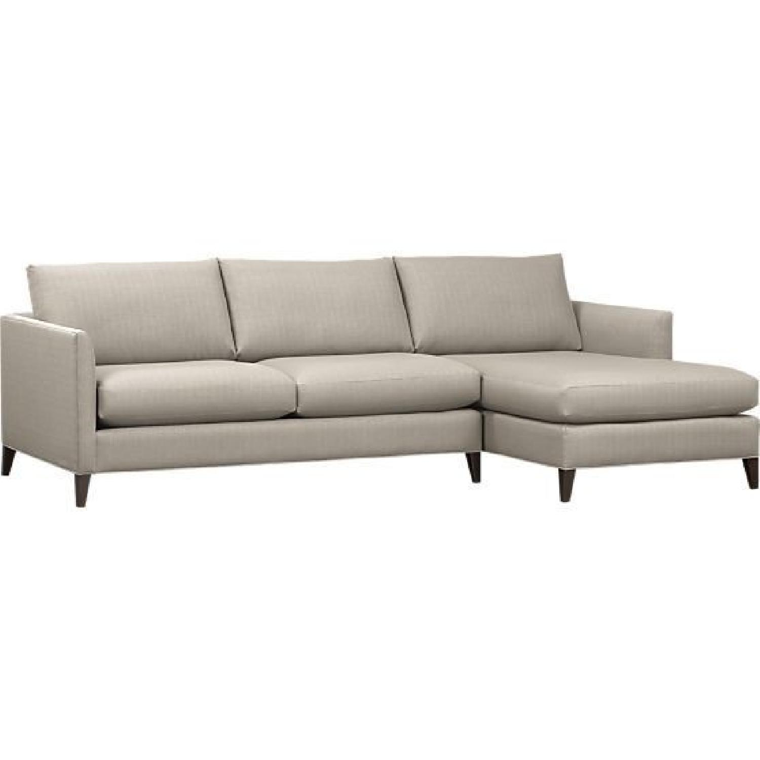 Crate & Barrel Klyne Light Grey 2-Piece Sectional Sofa