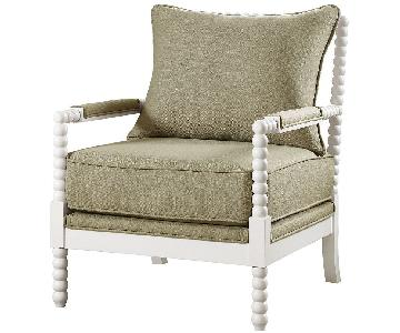 Spindle Style Accent Chair in Natural Color Fabric