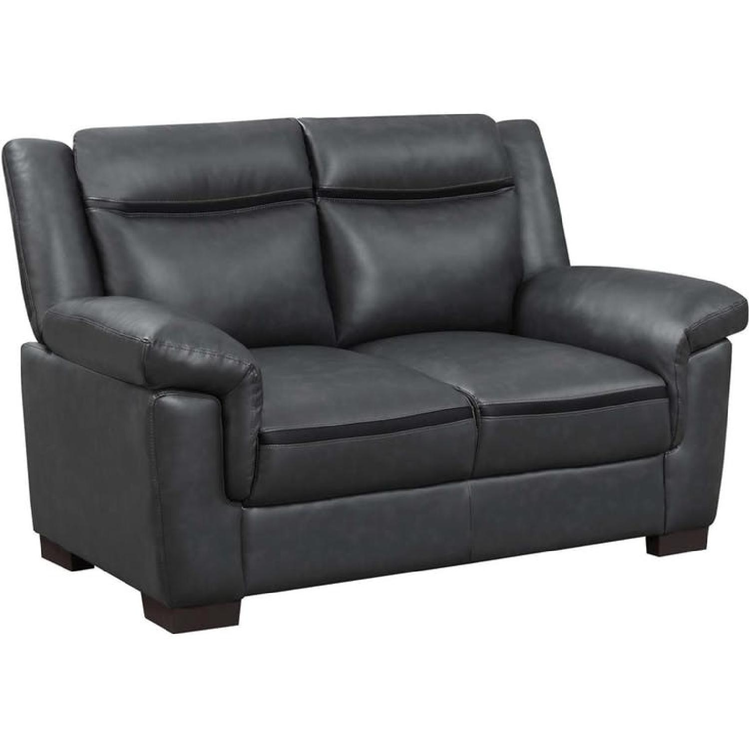 Modern Style Loveseat in Dark Grey Leatherette w/ Stripe