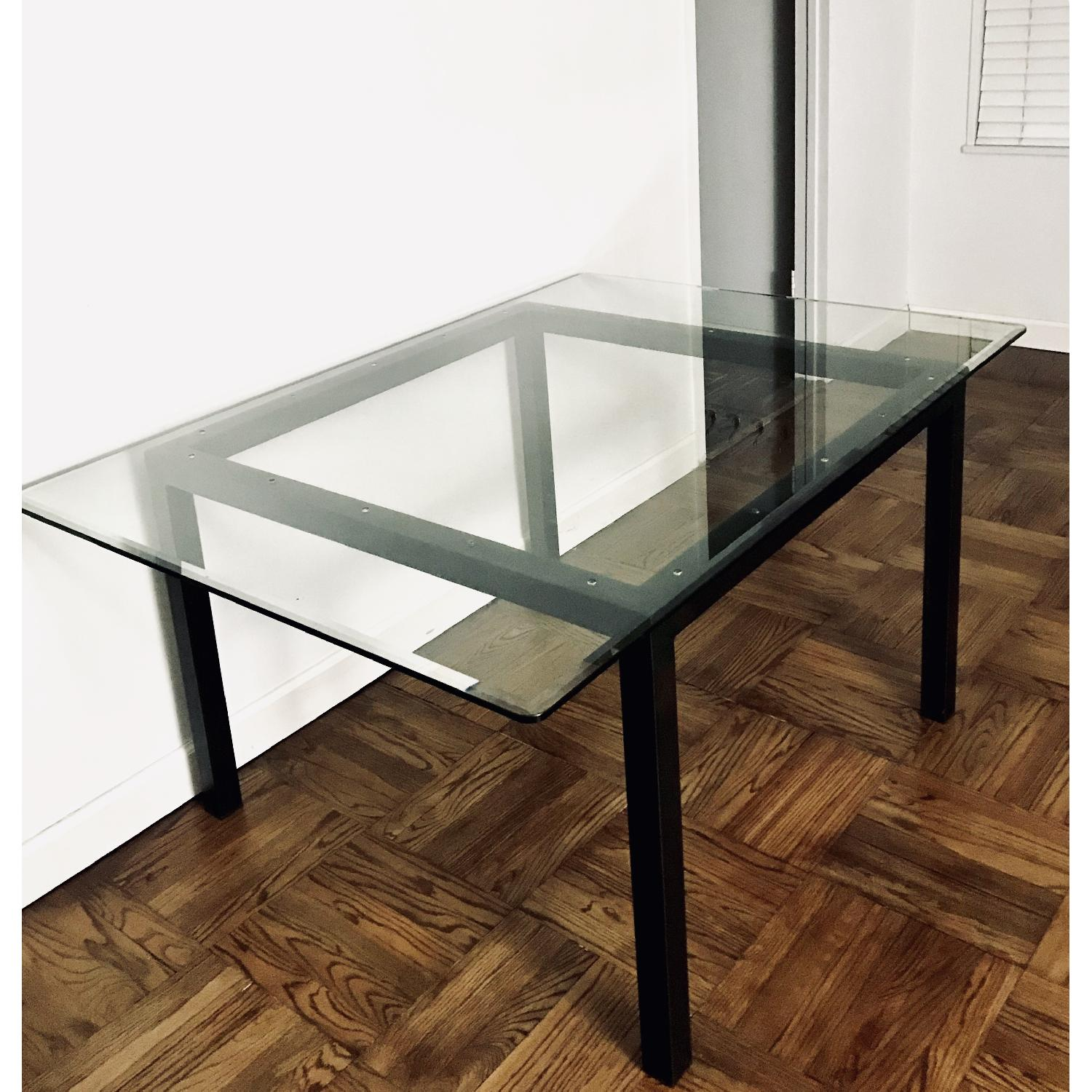 Room & Board Natural Steel Dining Table w/ Glass Top-1