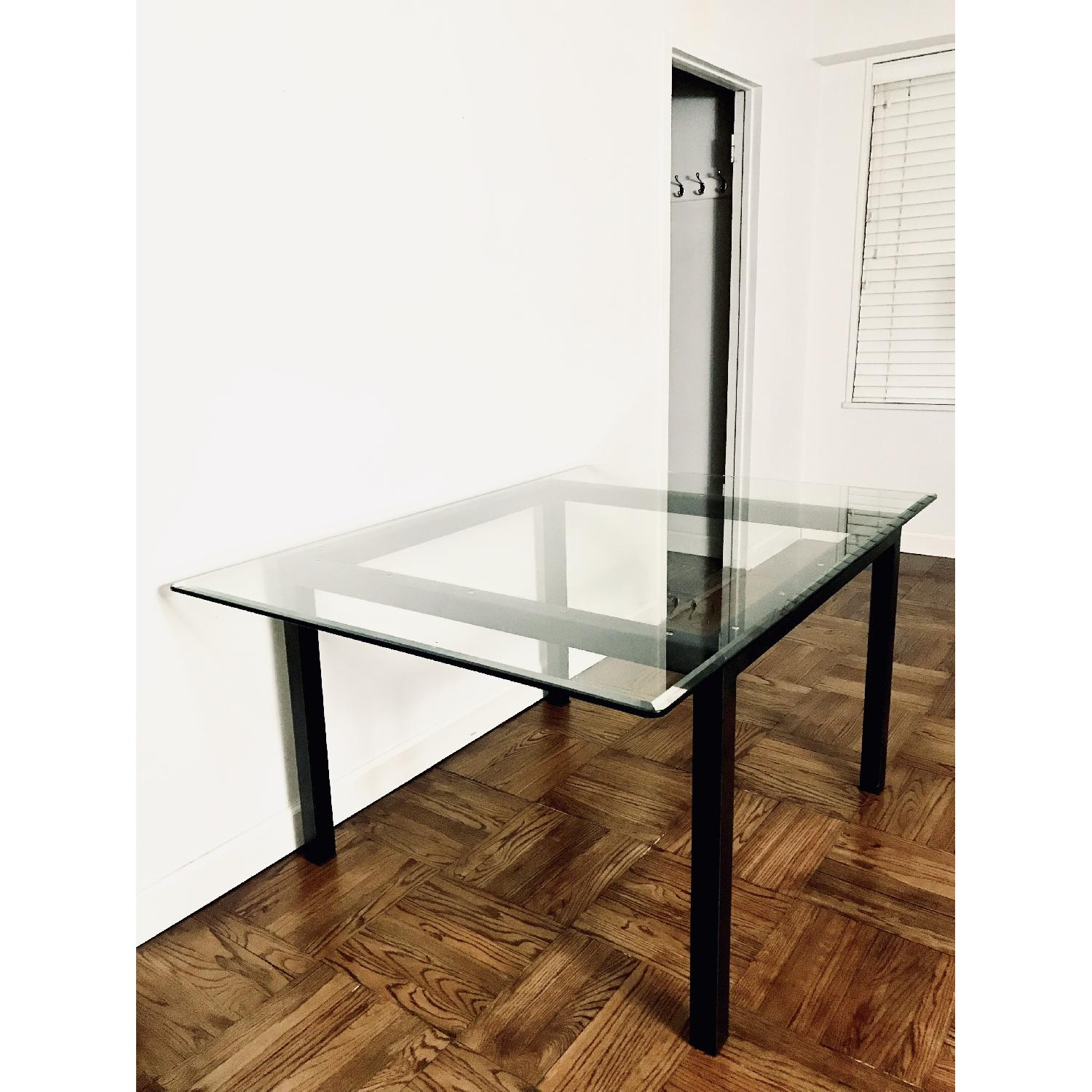 Room & Board Natural Steel Dining Table w/ Glass Top-2