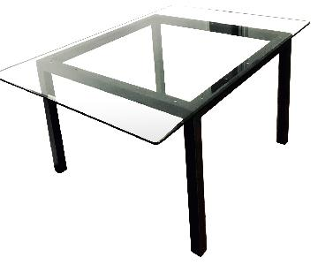 Room & Board Natural Steel Dining Table w/ Glass Top