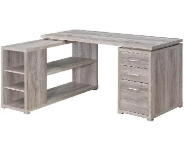 Reversible L Desk in Weathered Grey w/ Storage Drawers