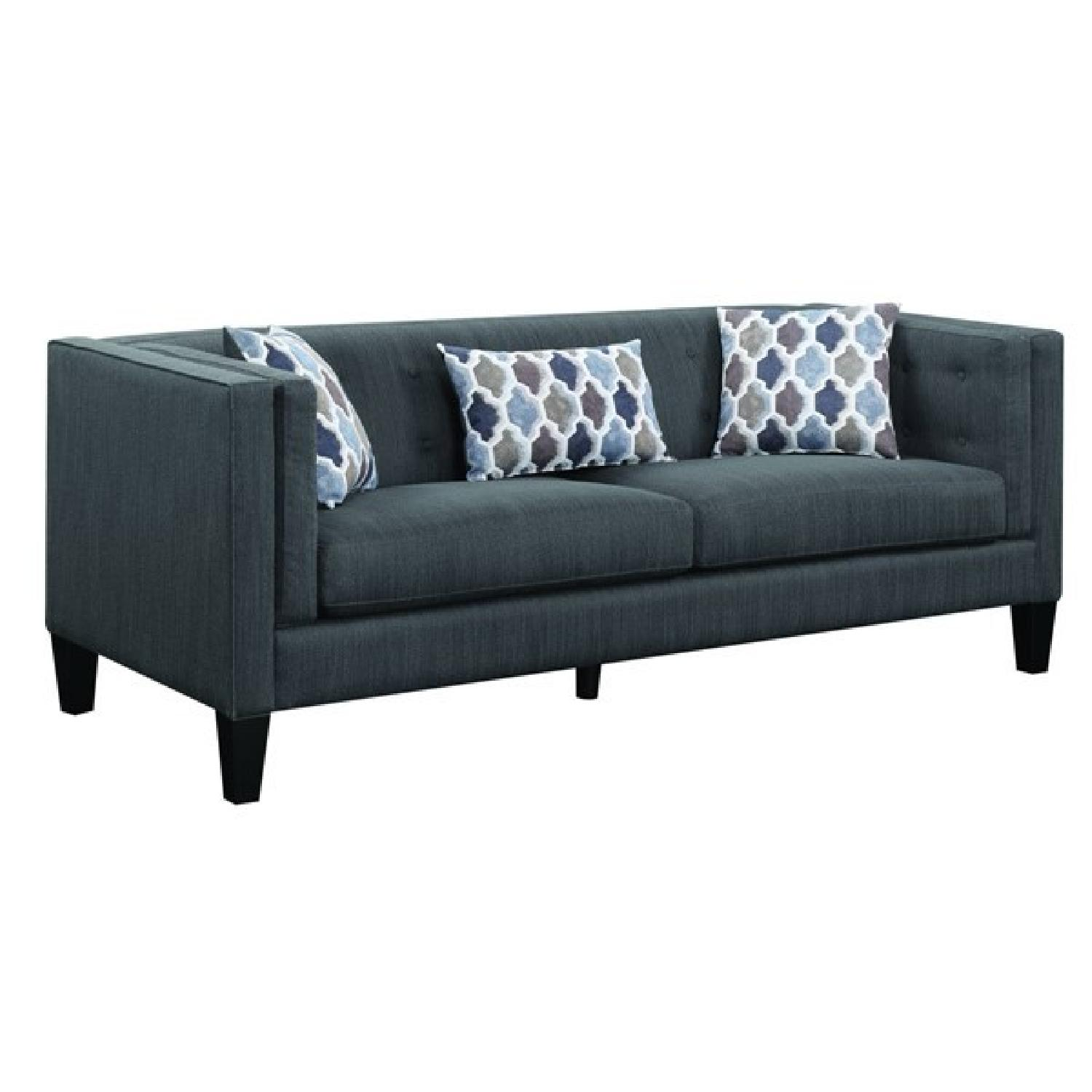Modern Sofa in Dusty Blue Fabric w/ Double Pillow Arms