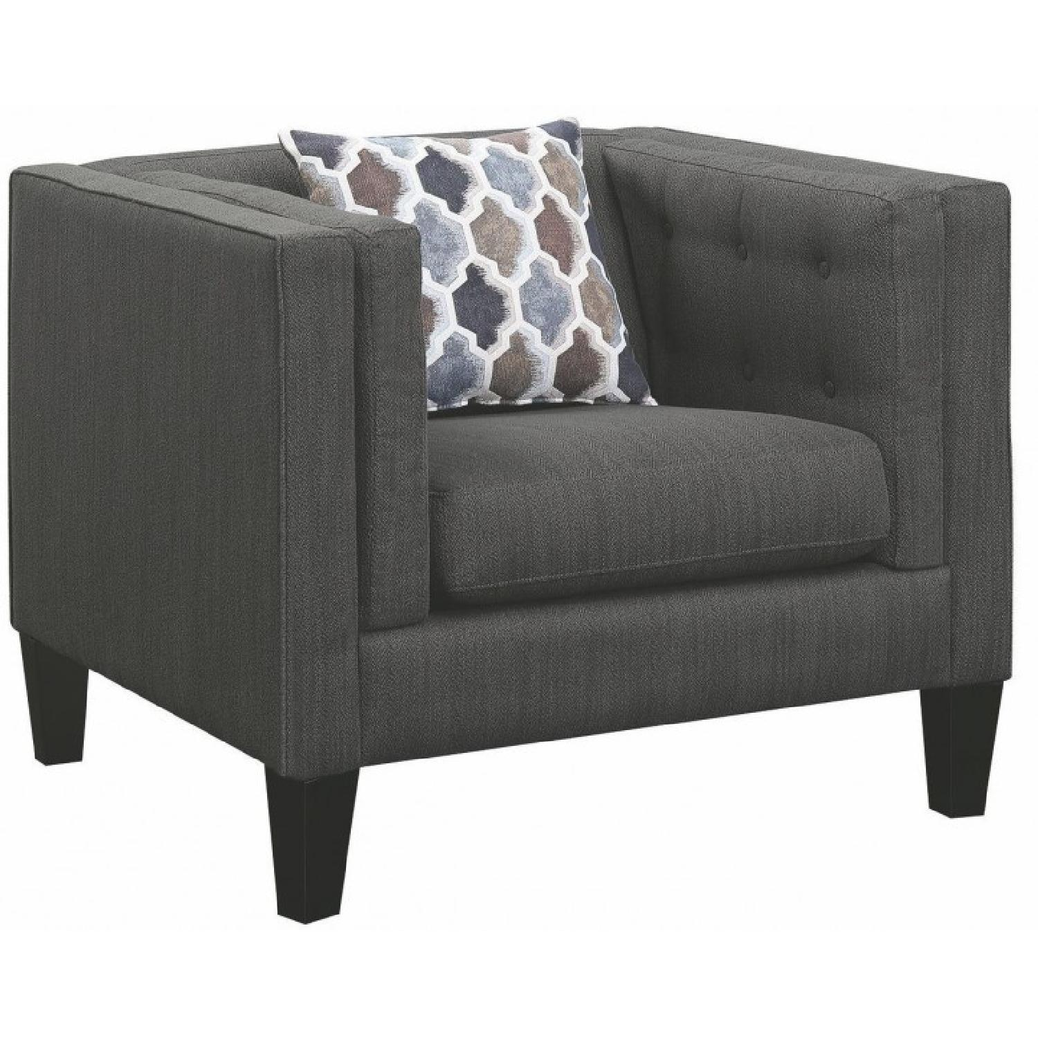 Modern Armchair in Dusty Blue Fabric w/ Double Pillow Arms