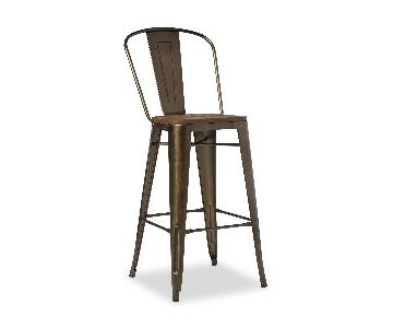 Tabouret Steel Bistro Dining Chairs w/ Wood Seat