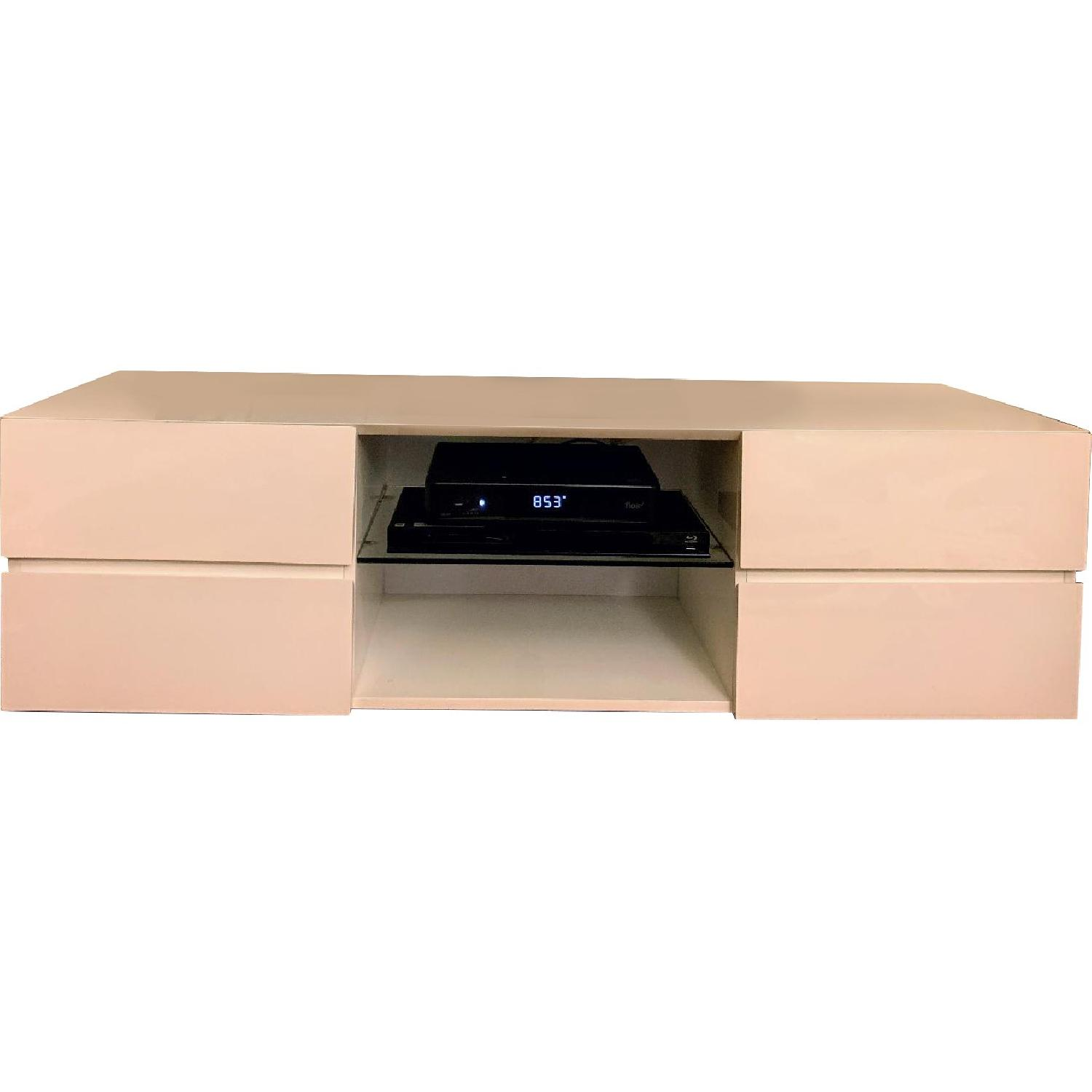 Modern 4 Drawer TV Stand w/ Center Shelf in High Gloss White