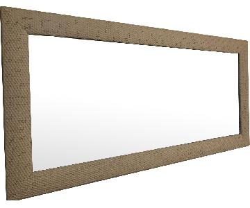 Home Goods White/Ivory Distressed Metal Framed Wall Mirror