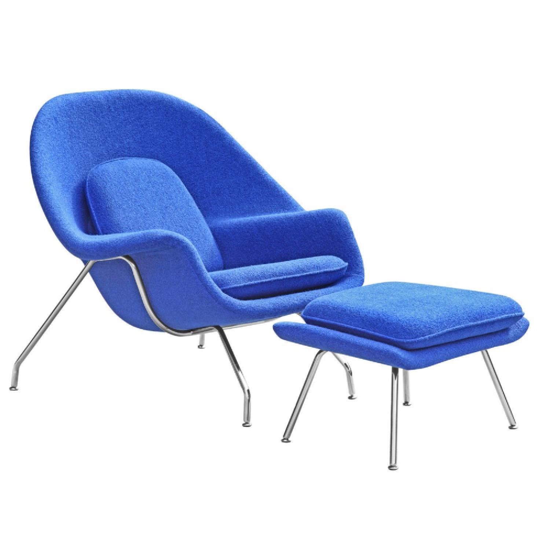 Manhattan Home Design Womb Chair & Ottoman in Blue